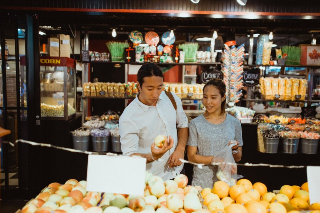 Couple shopping in a market